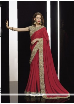 Lustre Patch Border Work Maroon Classic Designer Saree