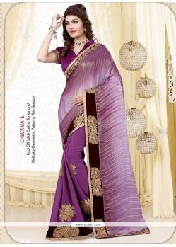 Stupendous Satin Purple Embroidered Work Designer Saree