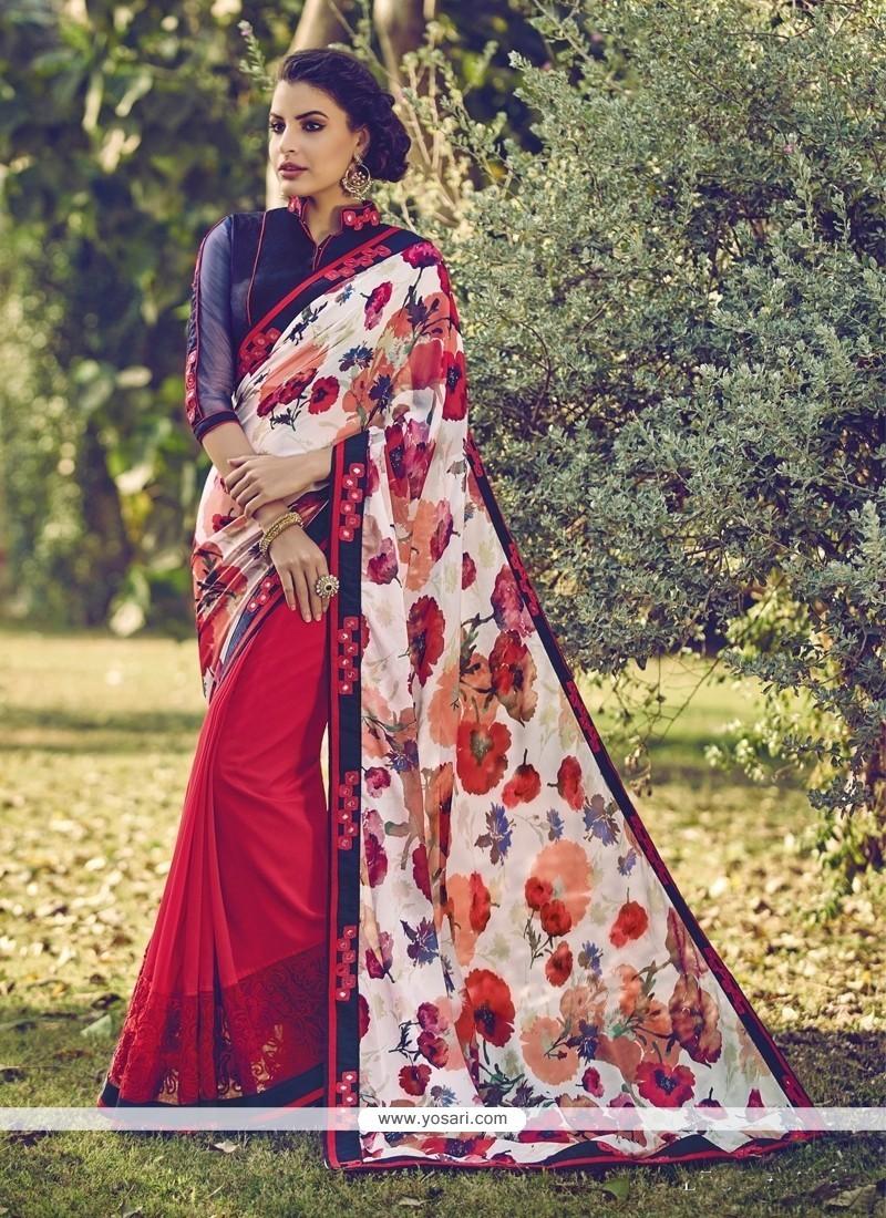 Eye-catchy Patch Border Work Multi Colour Designer Saree