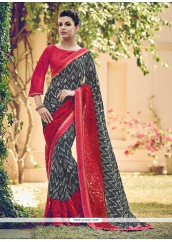 Preferable Georgette Red Designer Saree