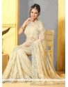 Blooming Cream Super Net Designer Saree