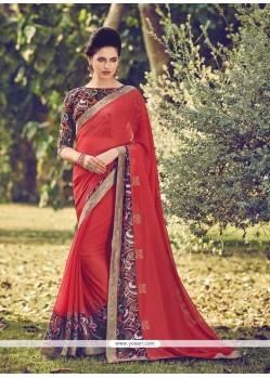 Dashing Multi Colour Embroidered Work Designer Saree
