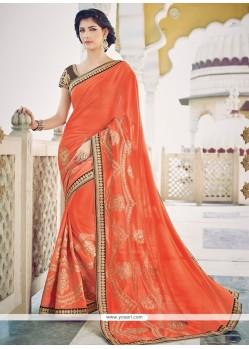 Excellent Orange Georgette Designer Saree