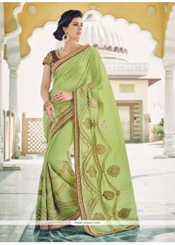 Glowing Green Embroidered Work Georgette Designer Saree