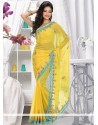 Observable Yellow Faux Chiffon Saree