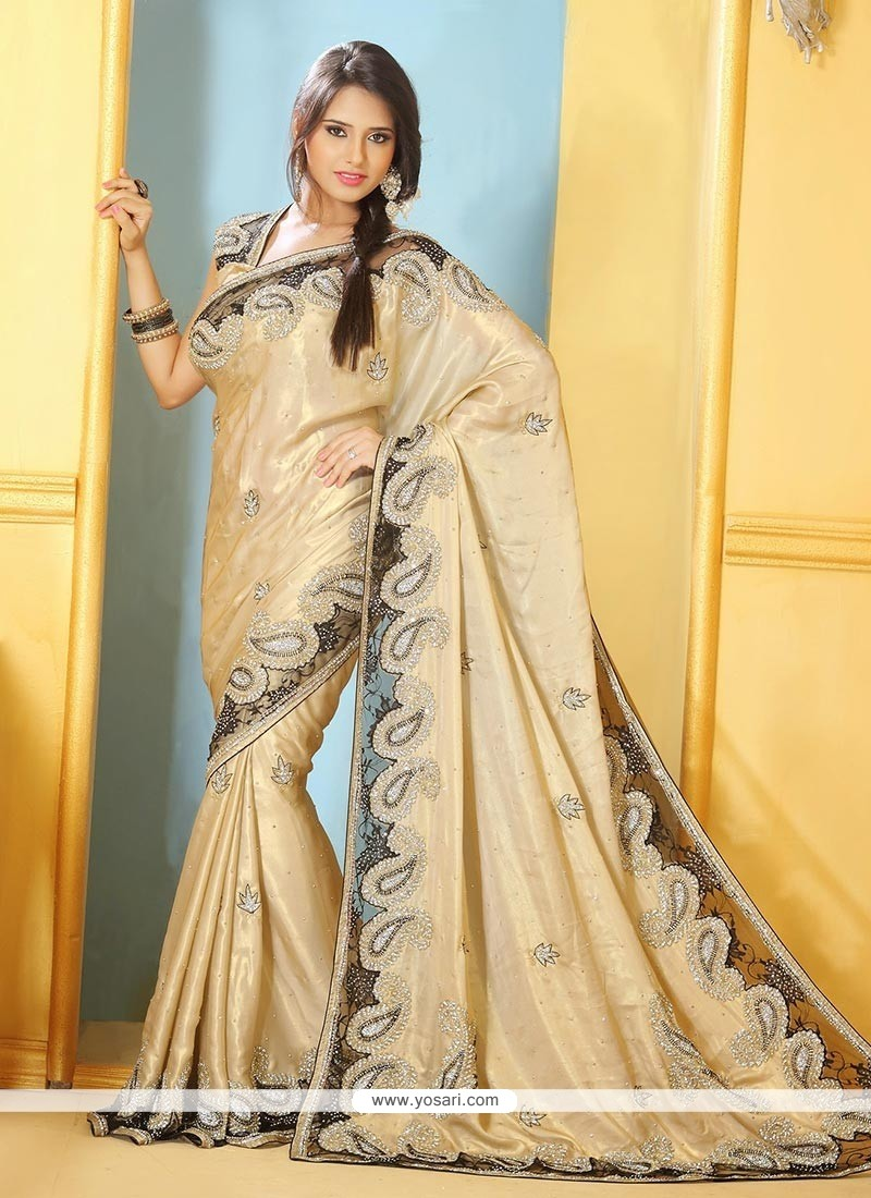 Cream Shimmer Georgette Party Wear Saree