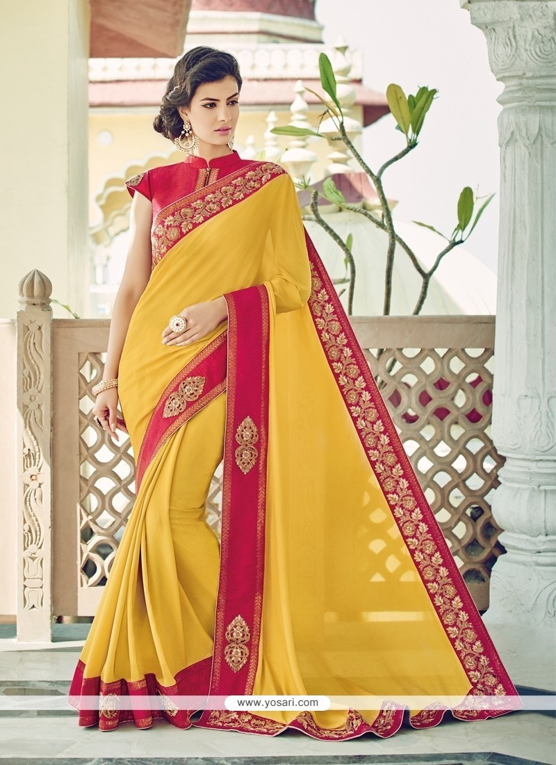 Fashionable Embroidered Work Yellow Designer Saree
