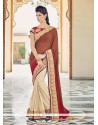 Delightsome Georgette Beige And Red Embroidered Work Designer Saree