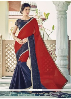 Phenomenal Georgette Navy Blue And Red Patch Border Work Designer Saree