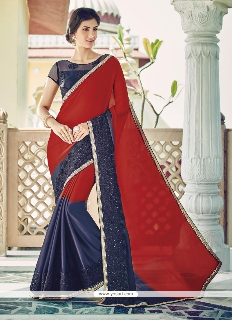 Phenomenal Georgette Navy Blue And Red Patch Border Work Designer Saree
