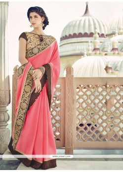 Resplendent Pink Designer Saree