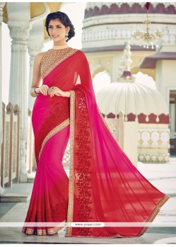 Titillating Hot Pink And Red Designer Saree