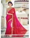 Titillating Hot Pink And Red Designer Saree