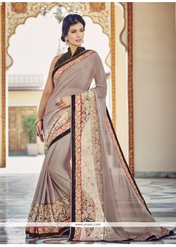Pleasance Georgette Patch Border Work Designer Saree