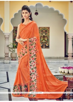 Topnotch Georgette Patch Border Work Designer Saree