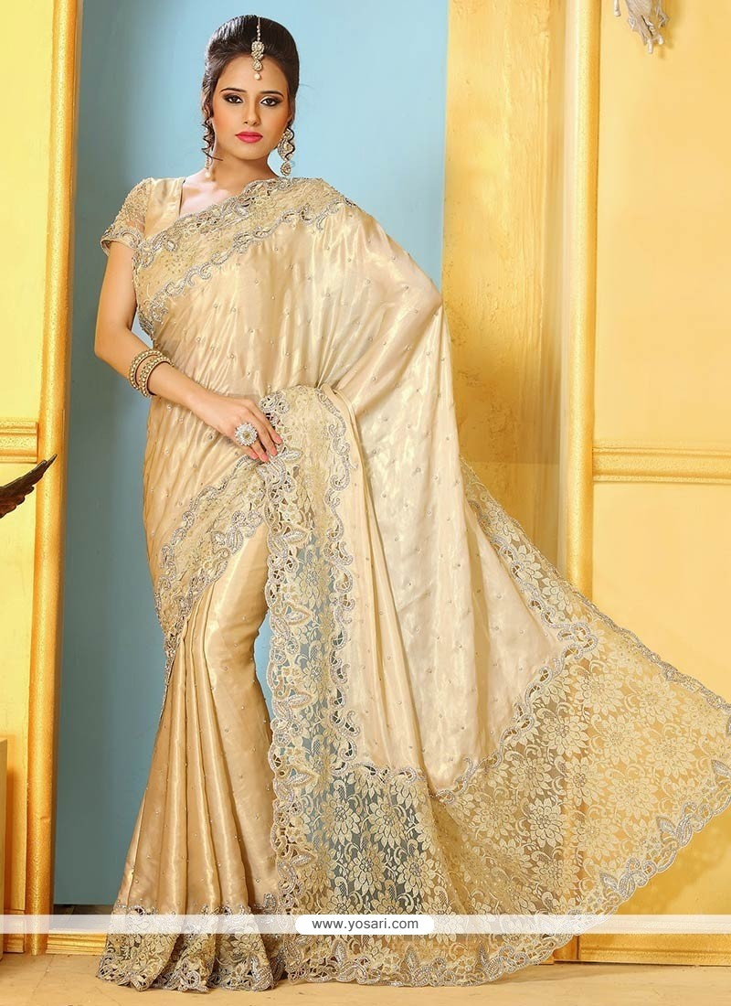 Splendid Cream Shimmer Georgette Saree