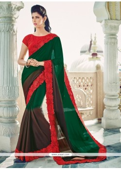 Tempting Embroidered Work Green Designer Saree