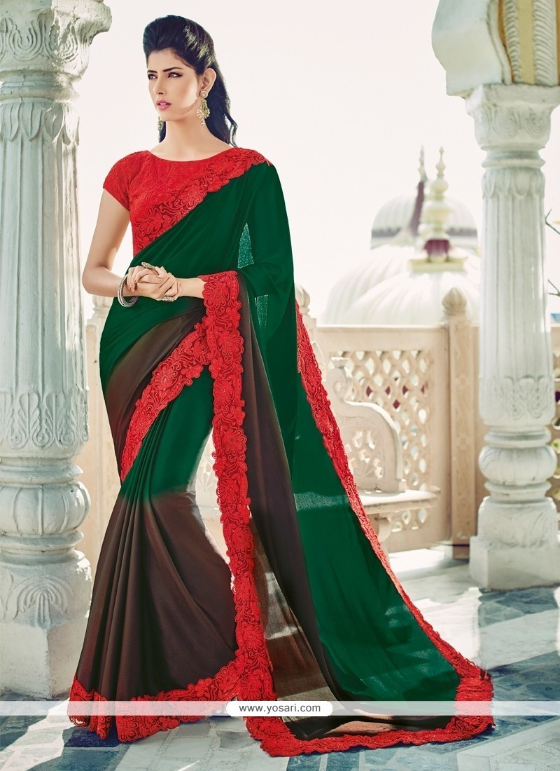 Tempting Embroidered Work Green Designer Saree