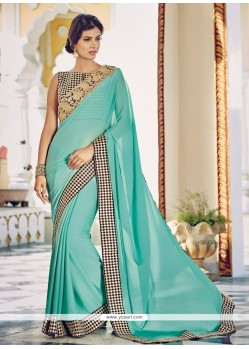Suave Blue Embroidered Work Georgette Designer Saree