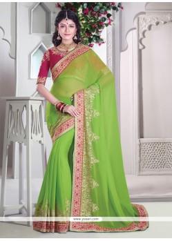 Tempting Green Classic Designer Saree