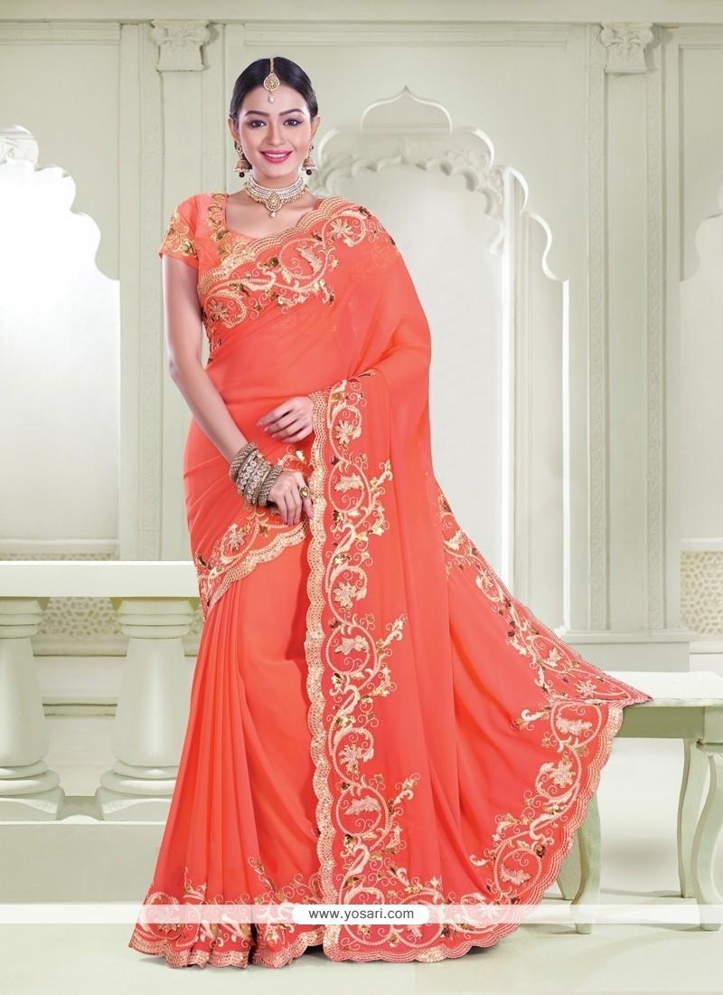 Sensational Patch Border Work Orange Classic Designer Saree