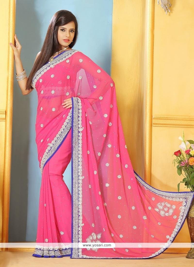 Lustrous Pink Faux Chiffon Saree