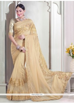 Beige Embroidered Work Net Classic Designer Saree