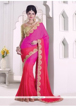 Tempting Faux Chiffon Embroidered Work Classic Designer Saree