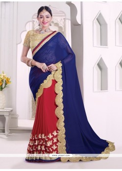 Ruritanian Bamber Georgette Navy Blue And Red Patch Border Work Classic Designer Saree
