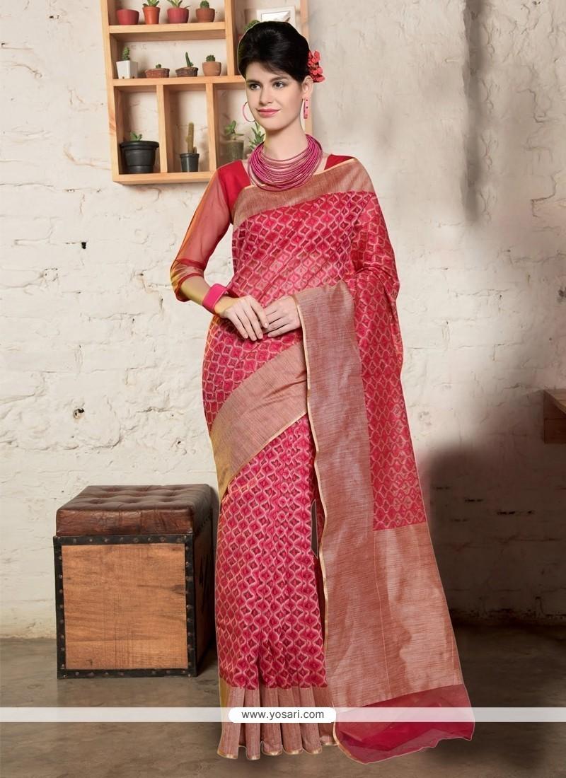 Sumptuous Jute Silk Hot Pink Designer Saree