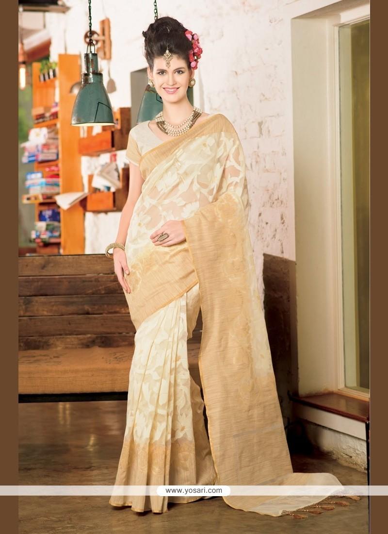 Titillating Jute Silk Beige Designer Saree