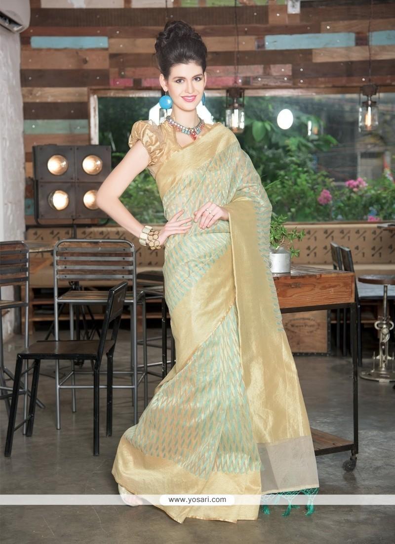 Elegant Sea Green Zari Work Tissue Designer Saree
