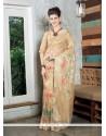 Thrilling Tissue Beige Designer Saree