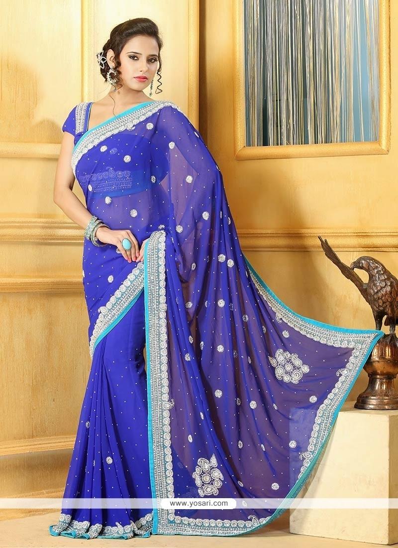 Glowing Blue Chiffon Saree