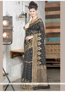 Adorable Jute Silk Grey Resham Work Designer Saree