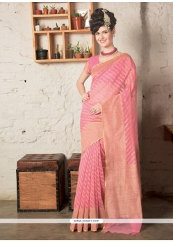 Voguish Zari Work Pink Designer Saree