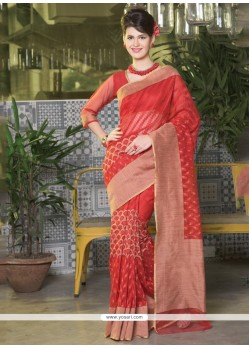 Bewildering Red Designer Saree