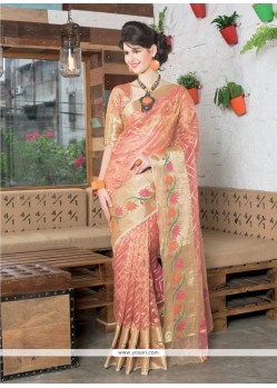 Debonair Tissue Gold Zari Work Designer Saree