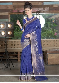 Intriguing Blue Resham Work Jute Silk Designer Saree