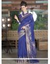 Intriguing Blue Resham Work Jute Silk Designer Saree
