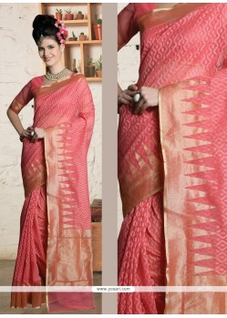 Gripping Pink Zari Work Designer Saree