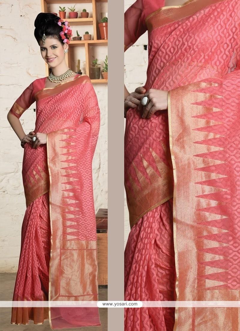 Gripping Pink Zari Work Designer Saree