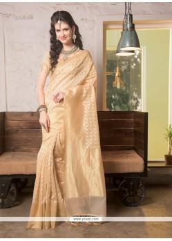 Mystical Beige Jute Silk Designer Saree