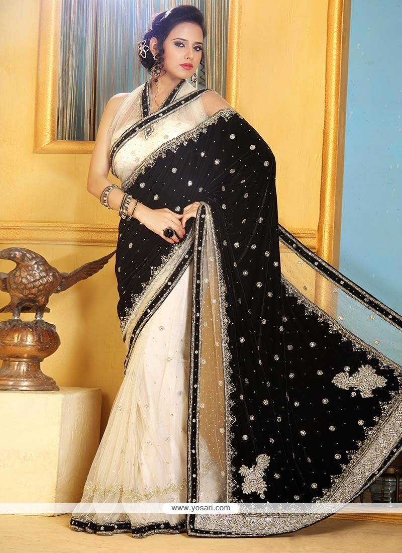 Off White And Black Velvet Designer Saree