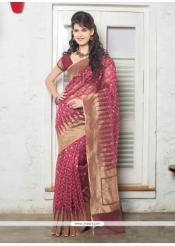 Flamboyant Jute Silk Hot Pink Resham Work Designer Saree