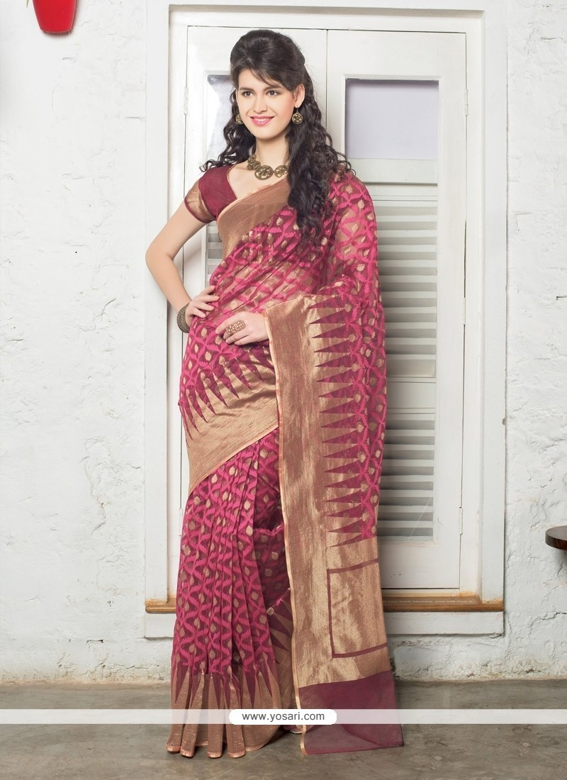 Flamboyant Jute Silk Hot Pink Resham Work Designer Saree