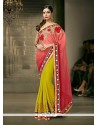 Mustard Patch Border Work Net Designer Saree