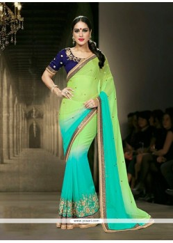 Artistic Faux Chiffon Embroidered Work Designer Saree
