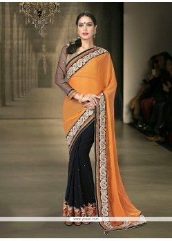 Deserving Bamber Georgette Black Designer Saree