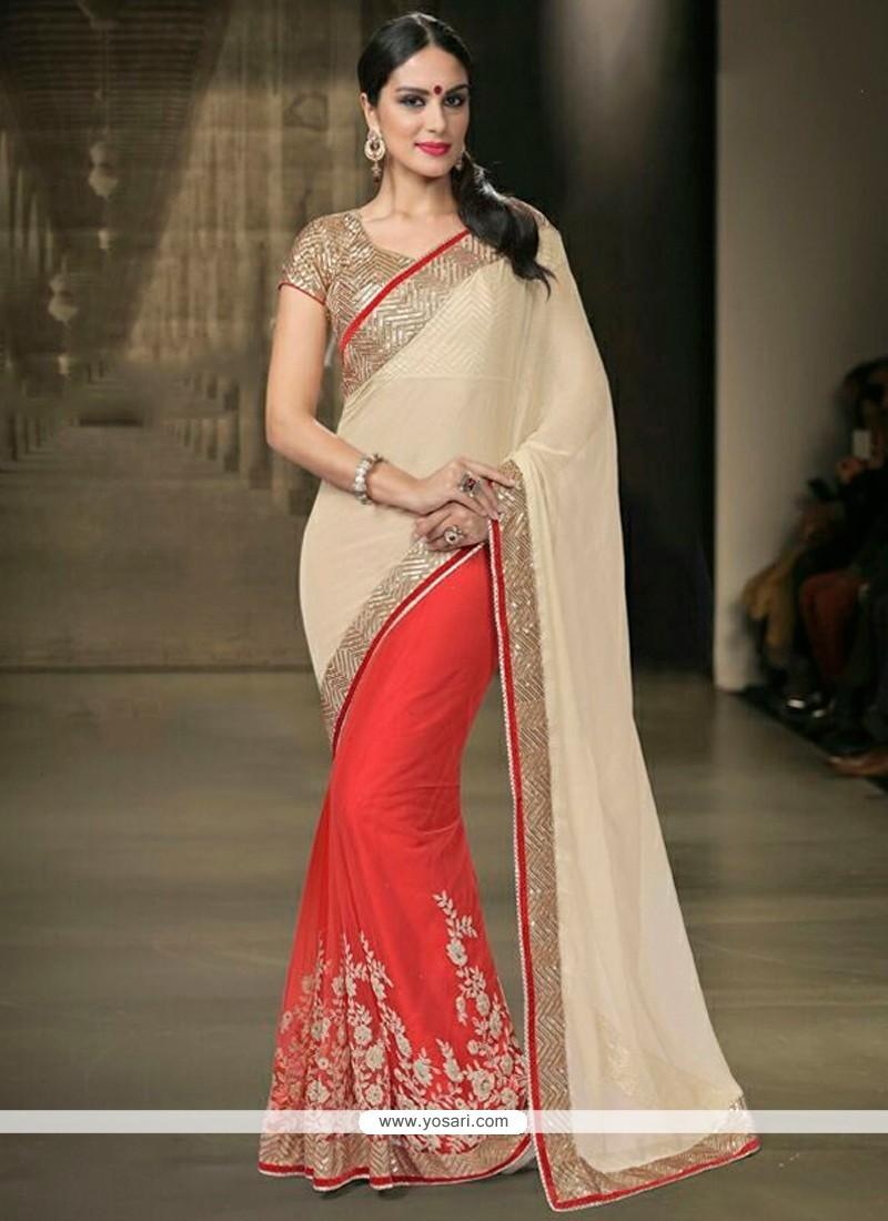 Sightly Net Red Designer Saree